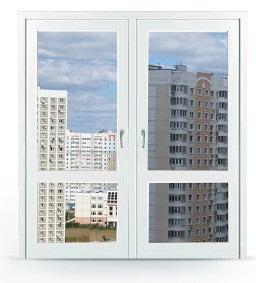 Двухстворчатая дверь заполненная стеклопакетом и разделённая перегородкой заказать в Москве и Мо