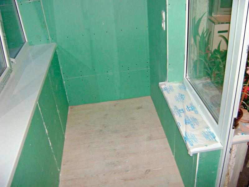 Отделка стен на балконах и лоджиях гипсокартоном
